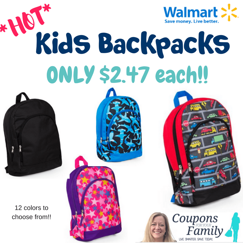 *HOT Back to School Deal still available* Walmart Kids Backpacks only $2.47!!