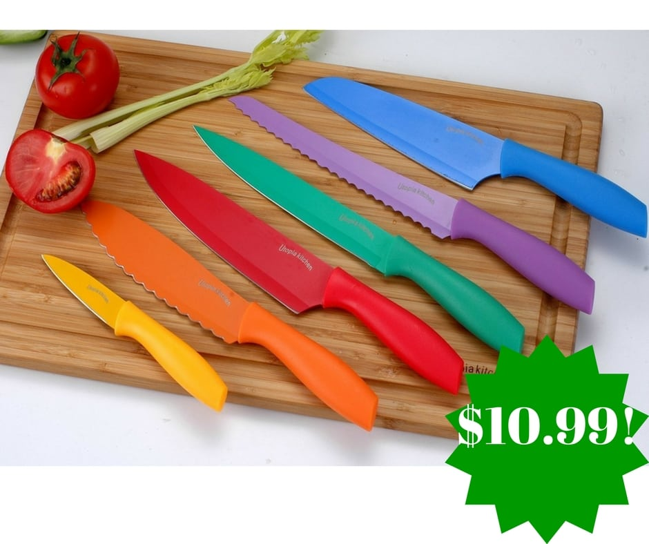 Amazon: 7 Piece Color-Coded Non-Stick Knife Set Only $10.99 (Reg. $30)
