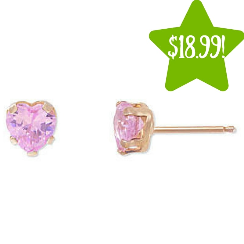 Kmart: 10KT Gold Pink Cubic Zirconia Heart Snap Stud Earrings Only $18.99 (Reg. $100, Today Only)