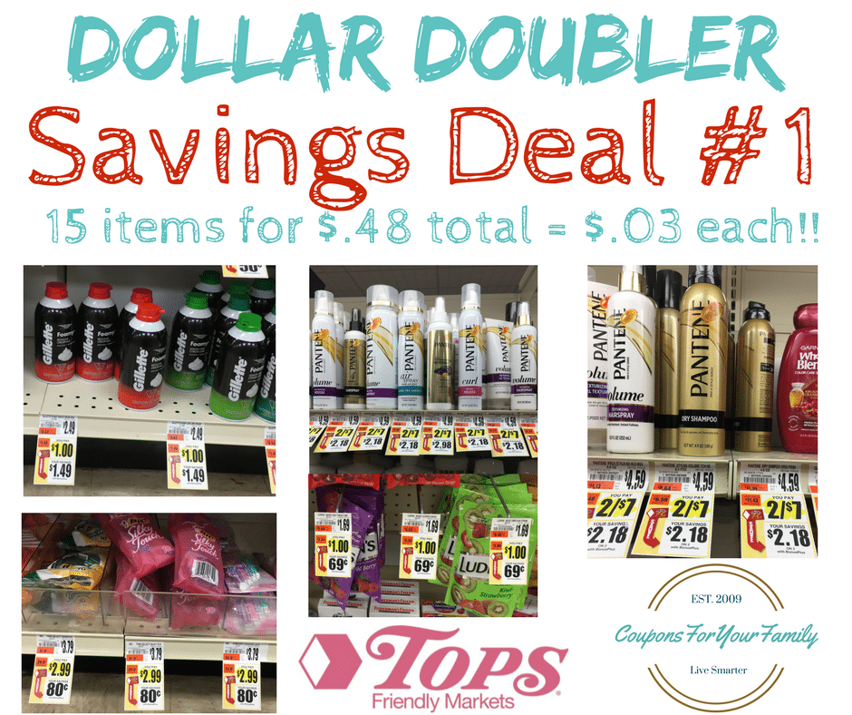 Tops Markets Dollar Doubler Deal #1: Get 15 Personal Care Items for $.48 = only $.03 each!!