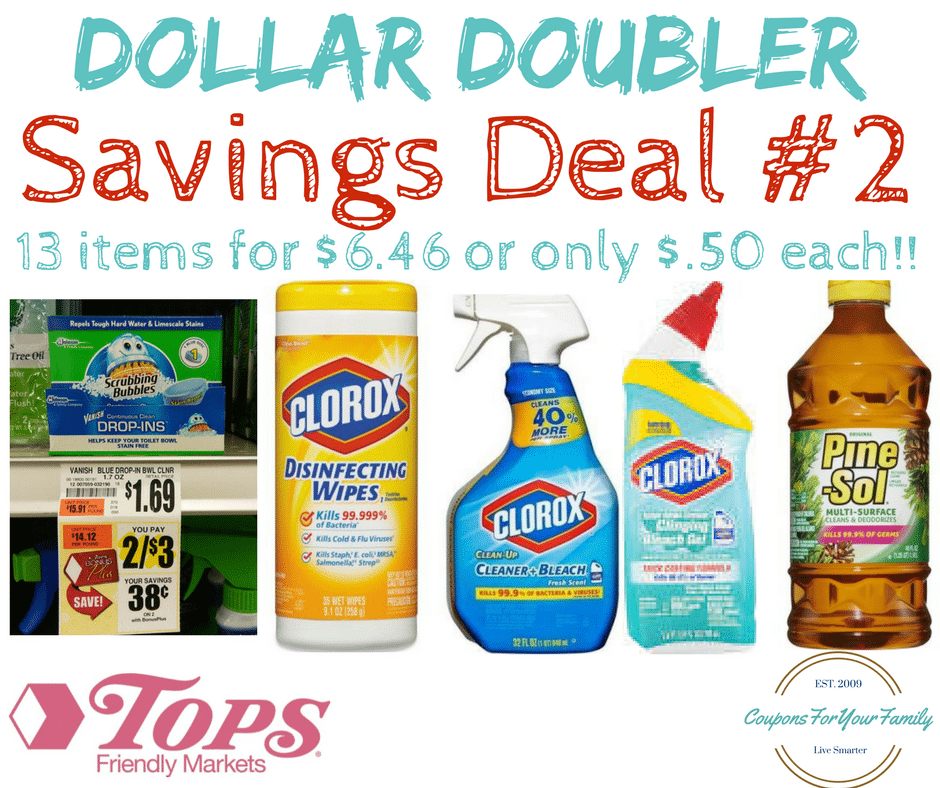 Tops Markets Dollar Doubler Deal #2: Get 13 Clorox Cleaning Items for $6.46 or $.50 each!!