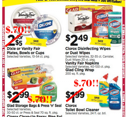 Tops Markets Household Stockup Deal: Dixie Plates, Clorox Toilet Cleaner, Glad Wrap & Pinesol for $.70 each!!!