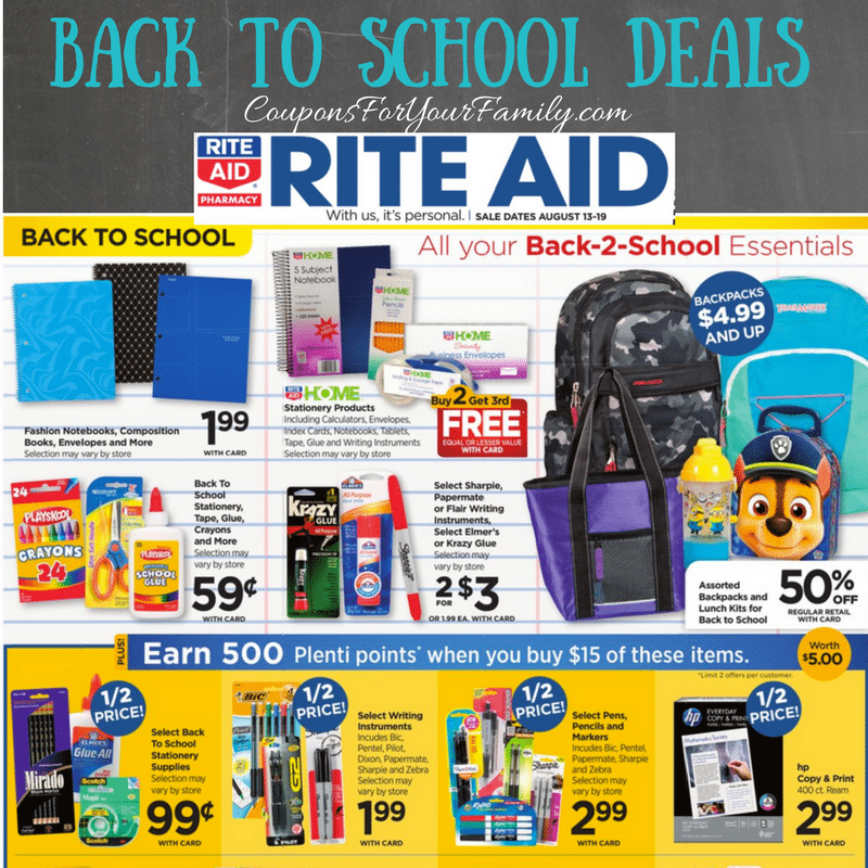 Rite Aid Back to School Deals August 13 -19: $.99 Pilot Pens, $1.24 Sharpie and more!