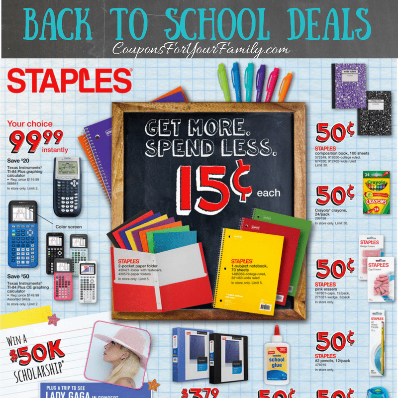 (Deals end 8/18) This week at Staples you can score great deals on Back To School Items. Keep in mind that some items have a limit as to how many you can buy. Keep in mind that some items have a limit as to how many you can buy.