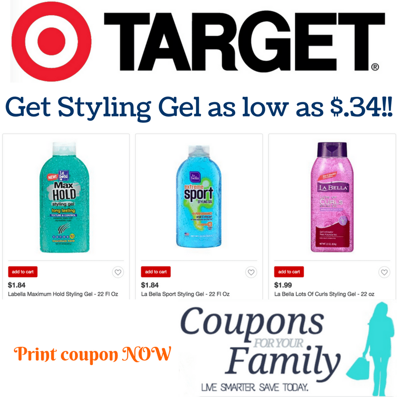 *CHEAP* La Bella Styling Gel as low as $.34 at Target!!