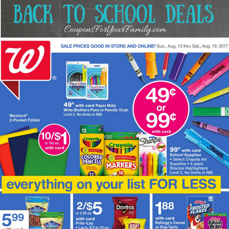 Walgreens Back to School Deals August 13 – 19: Free Pens or Pencils, $.10 Folders, $.44 Sharpies, $4 Backpacks & more!