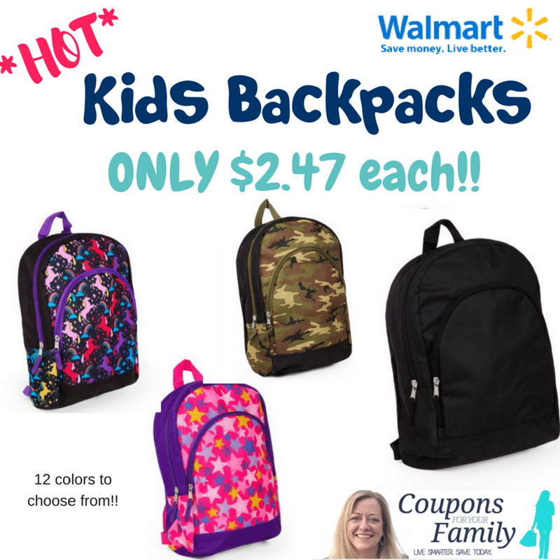 Back To School- Walmart Kids Backpacks only $2.47!!