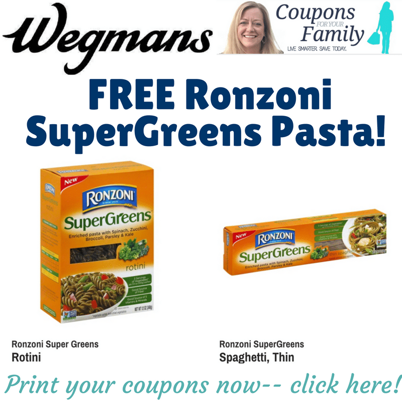 Free Ronzoni SuperGreens Pasta at Buffalo Wegmans stores!!! ($.99 other locations)