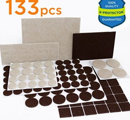 133 piece set Felt Furniture Pads under $10!! Best protection for hard surface floors!!