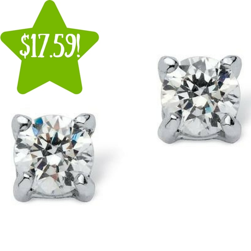 Kmart: PalmBeach Jewelry Round CZ Stud Earrings in Sterling Silver Only $17.59 (Reg. $42)