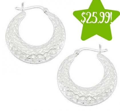 Kmart: Sterling Silver Diamond Cut Hoop Earrings Only $25.99 (Reg. $140, Today Only)
