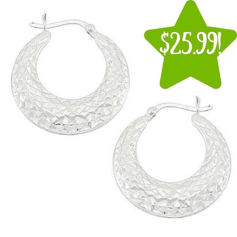 Kmart: Sterling Silver Diamond Cut Hoop Earrings Only $25.99 (Reg. $140, Today Only)