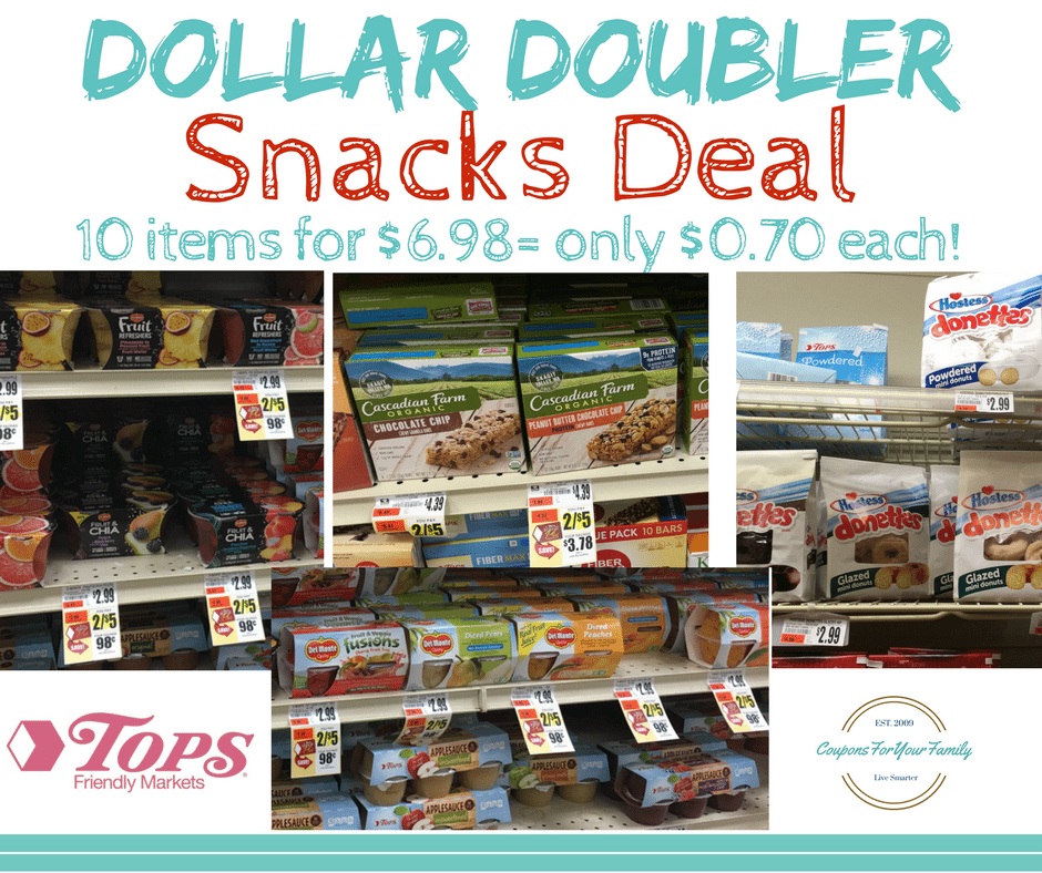 Tops Markets Dollar Doubler Snacks Deal: Get 10 items for only $.70 each!!