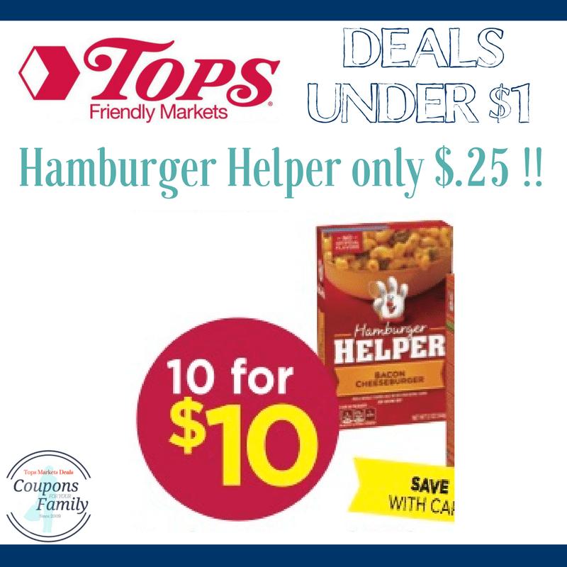 Tops Markets Coupon Matchup Hamburger Helper only $.25!!!