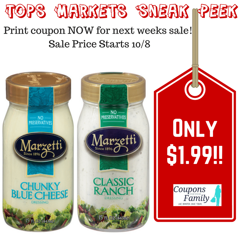 Tops Markets Cheap Marzetti Dressings starting 10/8 with RARE coupon!!!