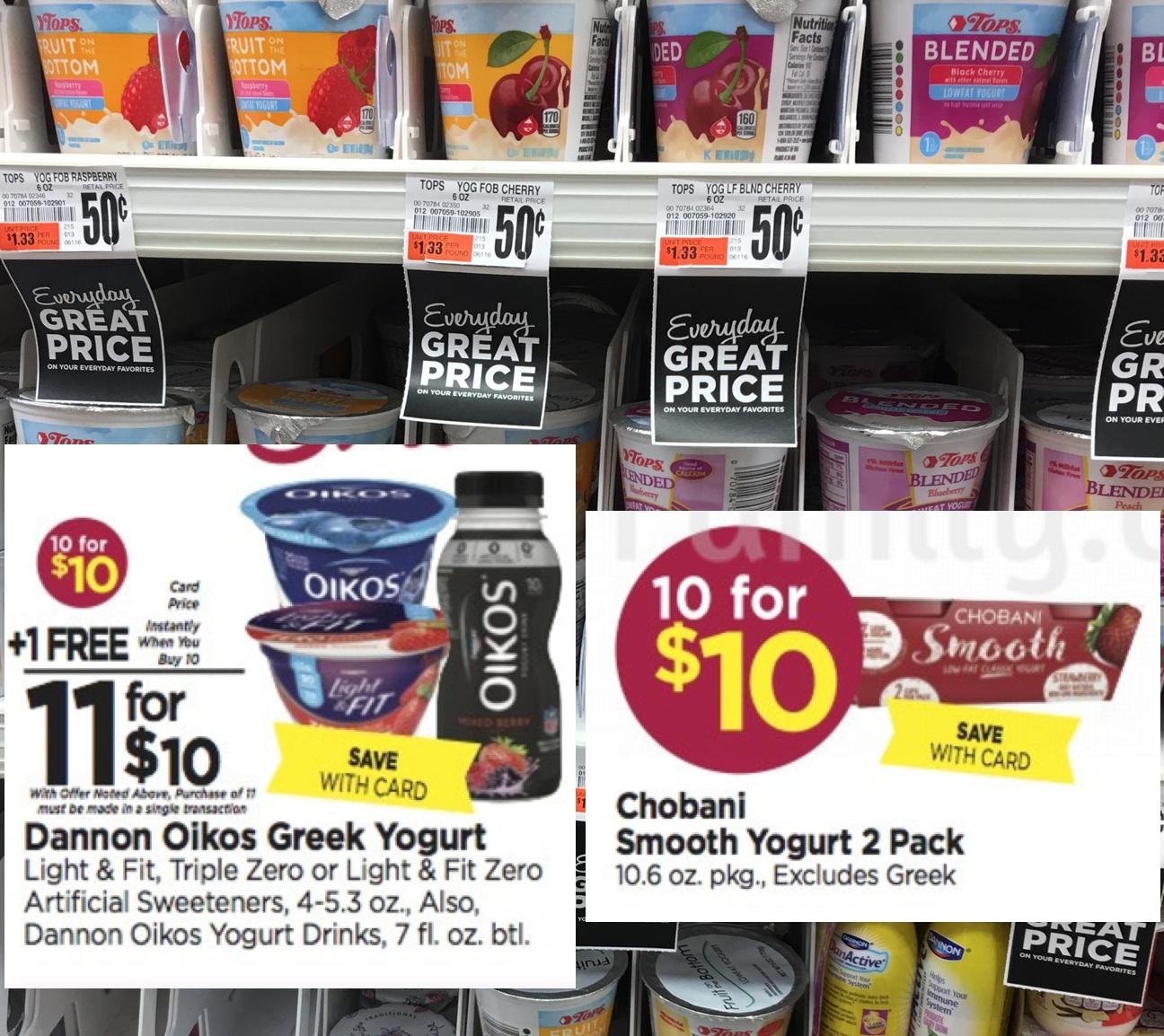 Tops Markets Free and Cheap Yogurt — Chobani, Dannon & Tops Brand!!