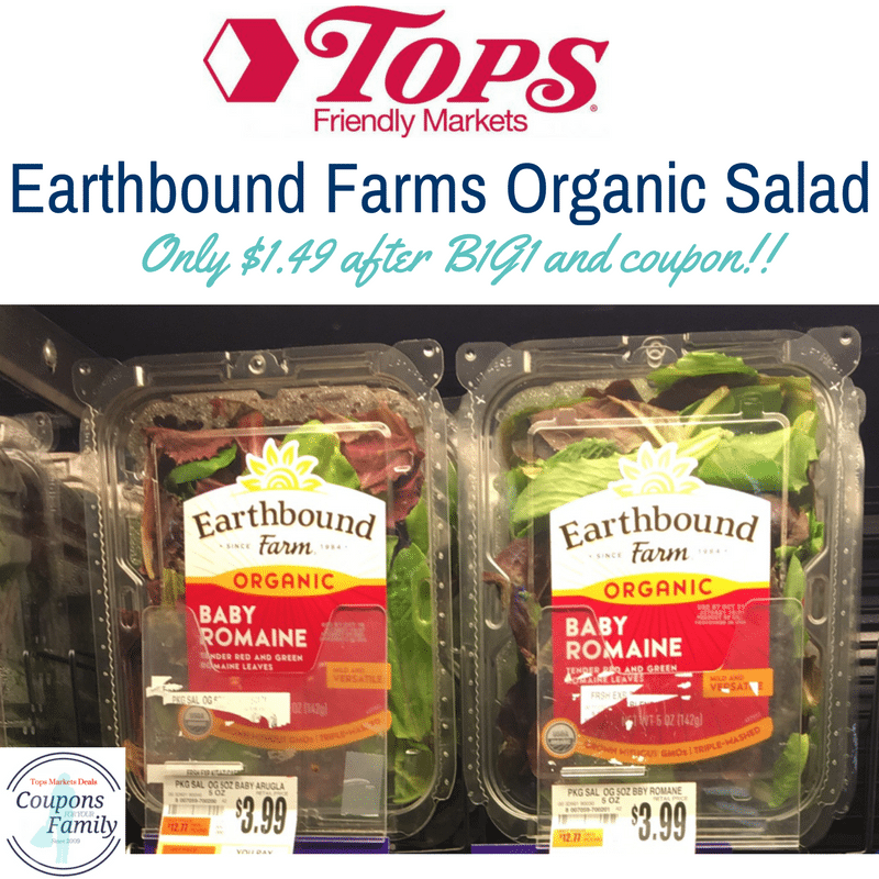 Tops Markets Earthbound Farms Organic Salad only $1.49 after coupon!!