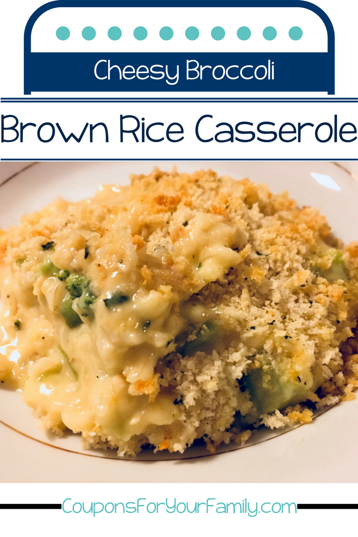 Cheesy Broccoli Carolina Brown Rice Casserole Recipe plus a RARE coupon! #CarolinaRiceSavings