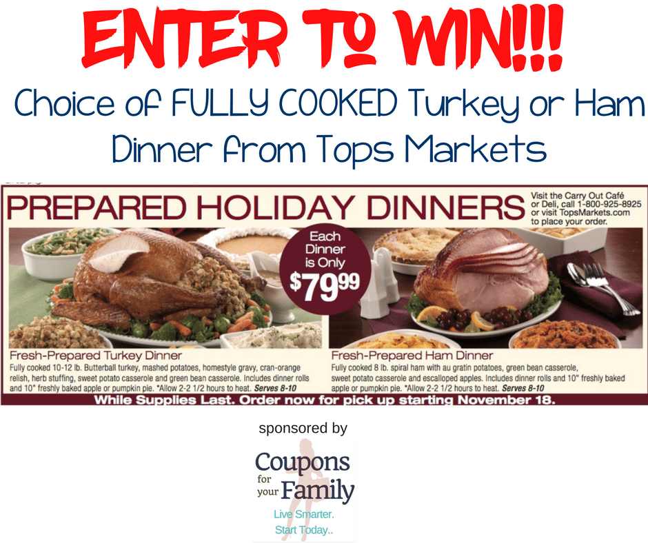 ATTN TOPS MARKETS SHOPPERS!!! Who wants FREE Thanksgiving Dinner? Enter to win a FREE COOKED Turkey or Ham Dinner here!!