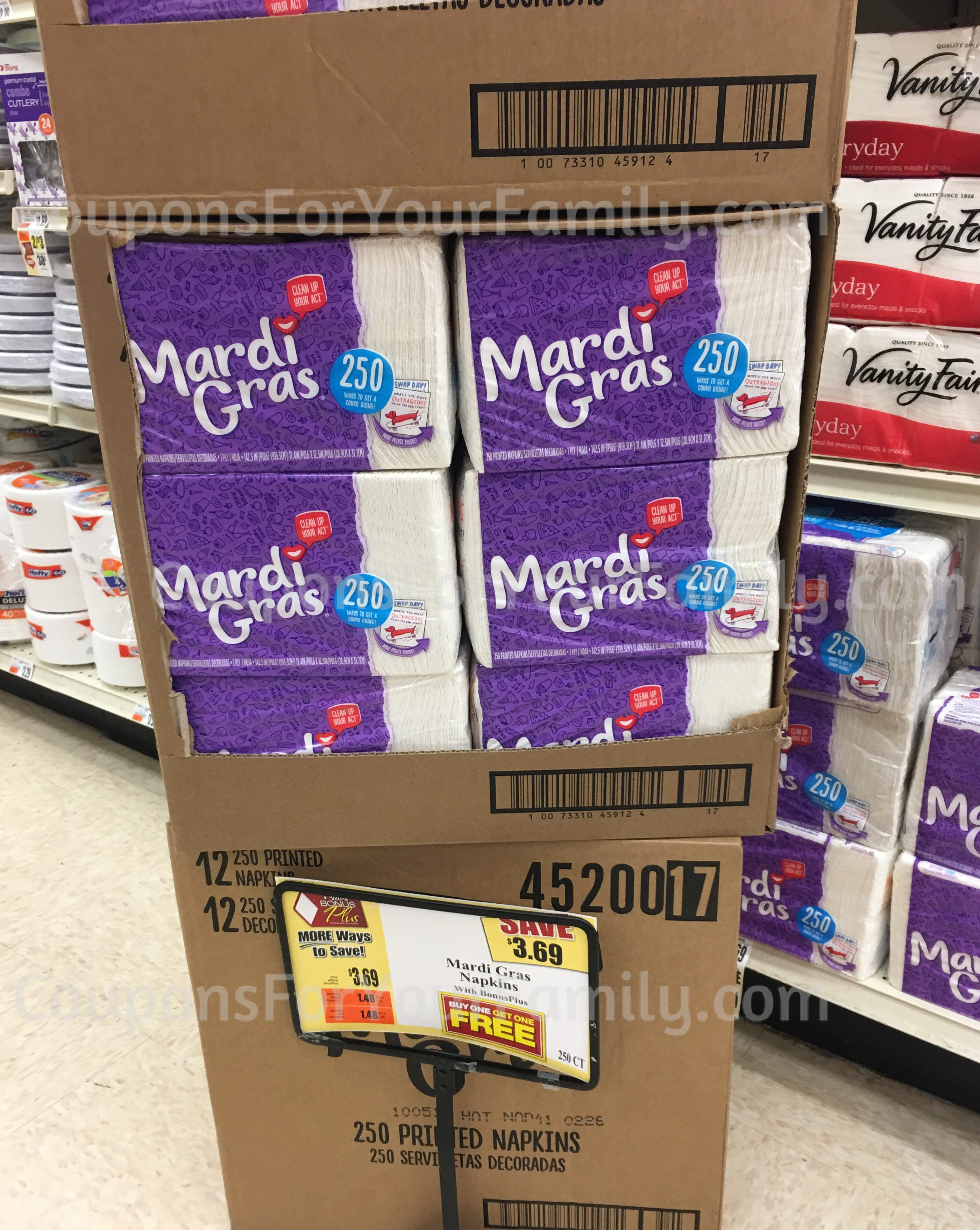 **HOT** Mardi Gras Napkins Deal at Tops– only $.55 each after coupon & rebate!