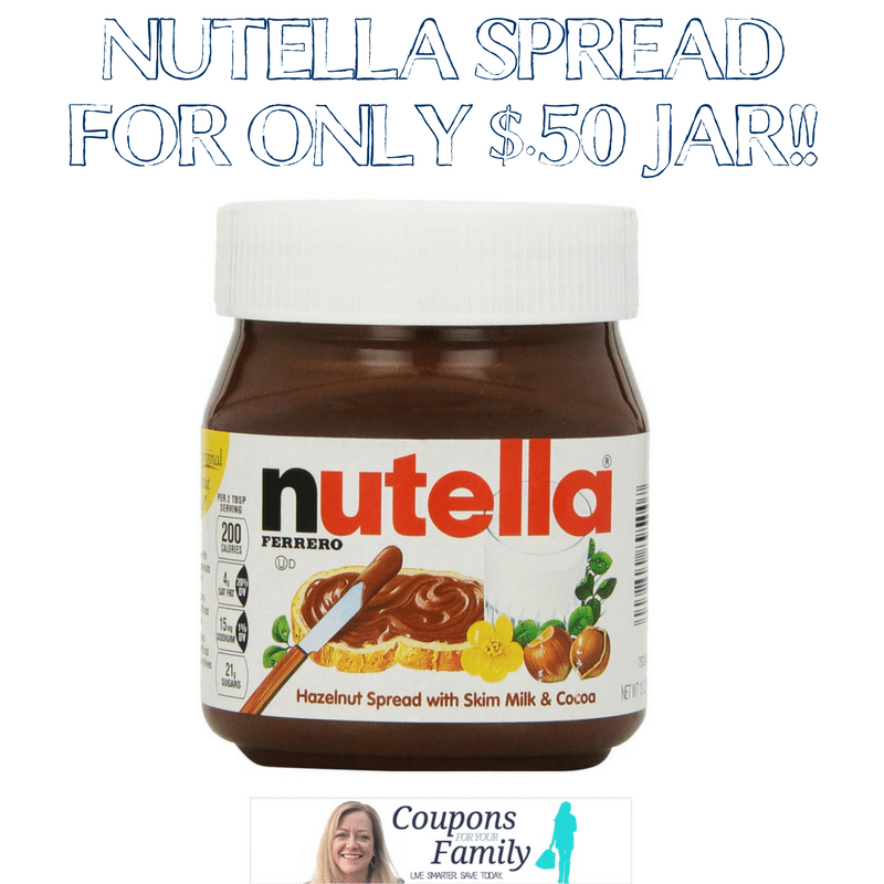 Tops Markets Nutella Spread for only $.50 jar with new printable or insert coupon plus recipe suggestions!!