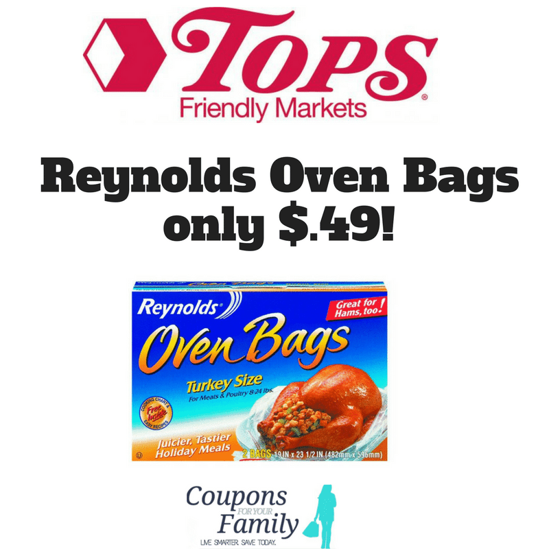 Reynolds Oven Bags only $.50 this week at Tops Markets!