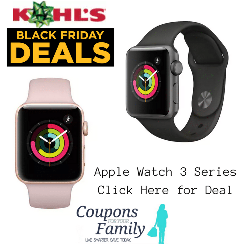 LIVE NOW Kohls Black Friday Deal: Apple Watch Series 3 – 38mm Gold Aluminum Case w/Sport Band – Net Cost $239!!