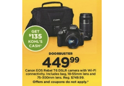 Kohls Doorbuster Deal 2017 LIVE ~ Canon EOS Rebel T6 DSLR Camera ~ ONLY $314.99