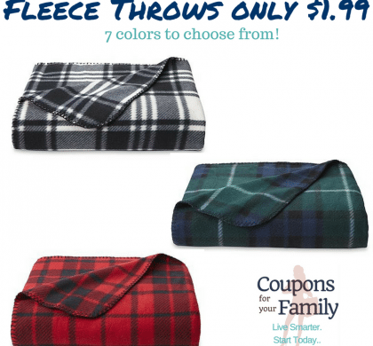 **HOT** Fleece Throws only $1.99 {REG $7.99}- order online pick up at store!