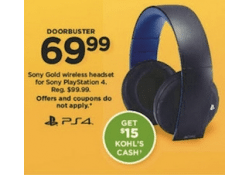 Kohls Doorbuster Deal 2017 LIVE NOW ~ Sony Gold Wireless Headset for PlayStation 4 & PlayStation 3 ONLY $54.99!!!!