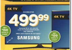 Kohls Doorbuster Deal 2017 LIVE NOW ~ Samsung 55-Inch Ultra HD Smart TV ONLY $349.99!!!