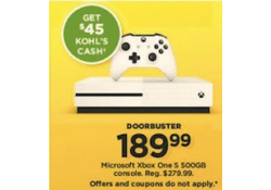 Kohls Doorbuster Deal 2017 LIVE~ Microsoft Xbox One S 500GB Console ONLY $144.99!