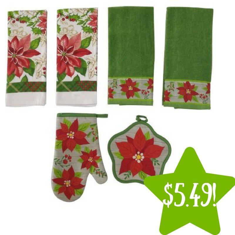 Walmart: Holiday Time Poinsettia 6pc Kitchen Set Only $5.49 (Reg. $10)