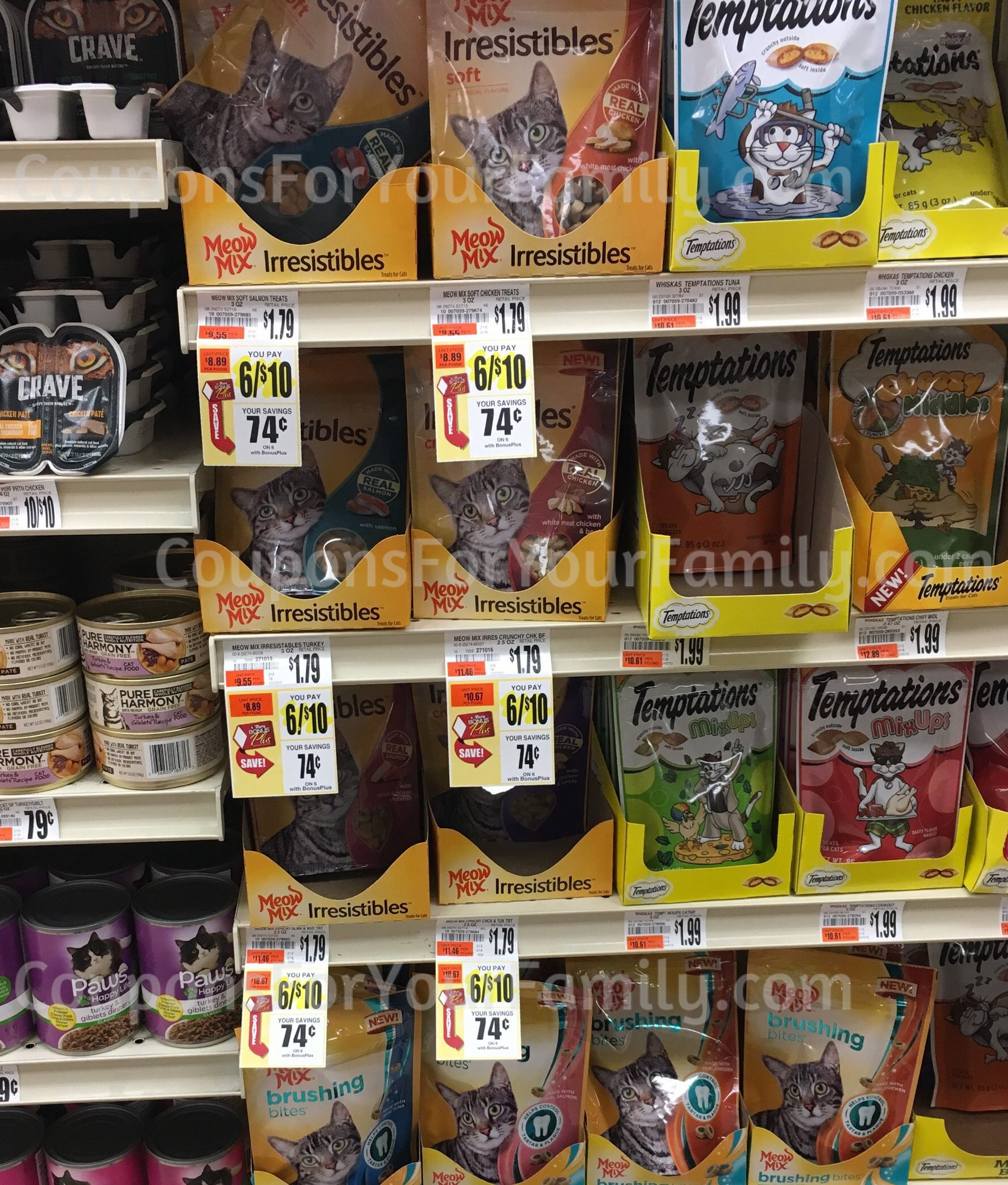 Tops Markets Meow Mix Irresistibles for only $.07 each!!!