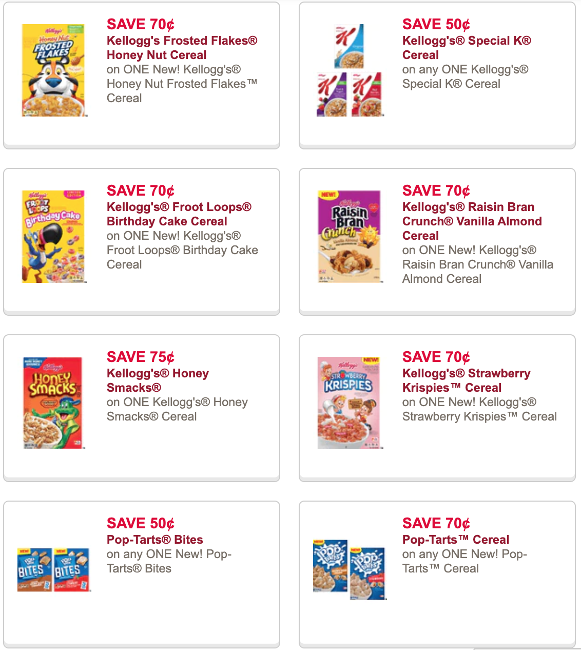 Kelloggs cereal coupons
