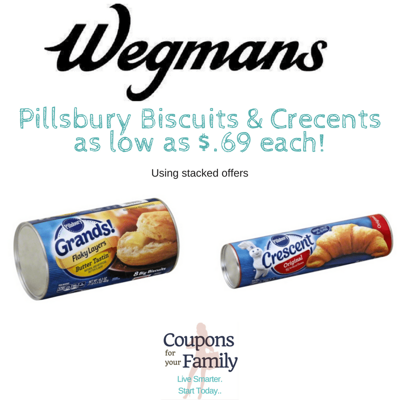 Wegmans Pillsbury Grands Biscuits only $.69 and Crescents only $.89 with new coupons & cashback!