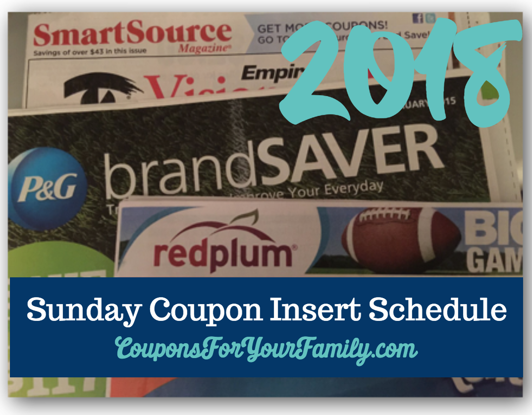 2018 Sunday Coupon Insert Schedule
