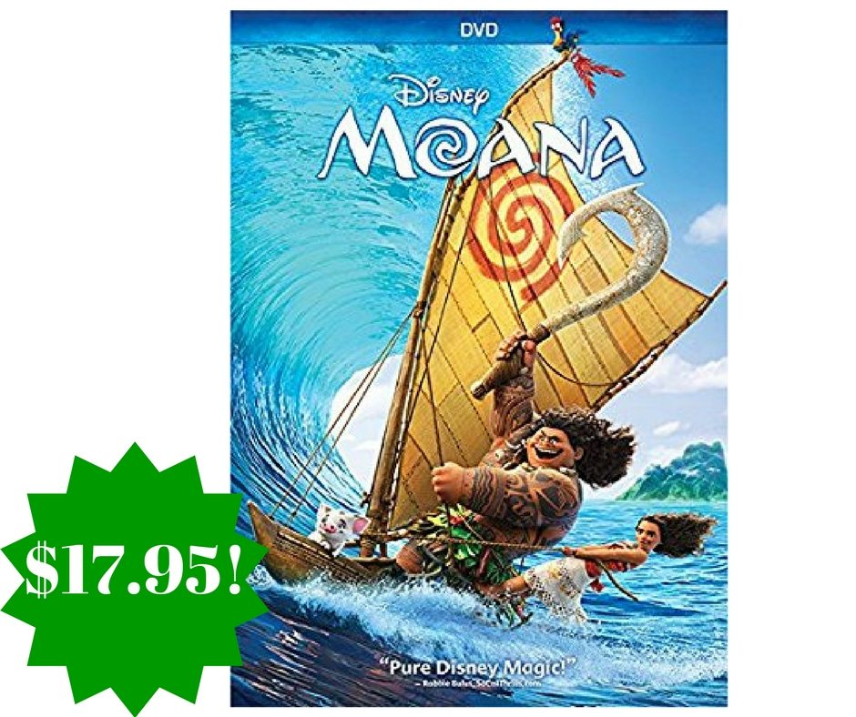 Amazon: Moana DVD Only $17.95 (Reg. $30)
