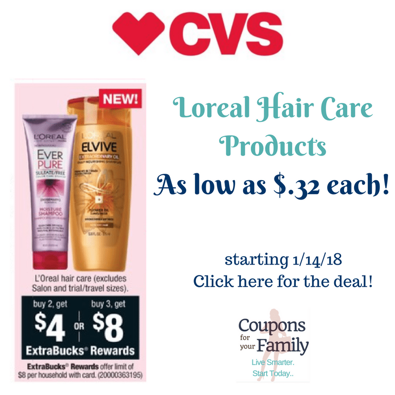 CVS:  Loreal Haircare Deal as low as $.32 each!!!