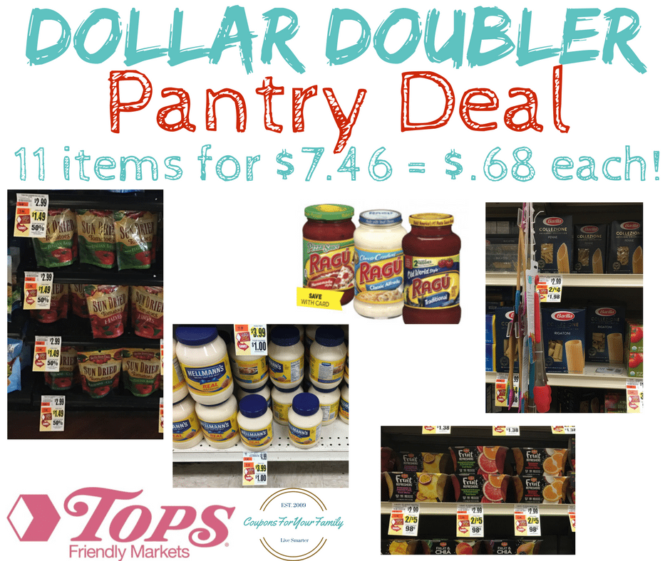 Tops Markets Pantry Dollar Doubler Deal Combo: Get 11 items for $.68 each!