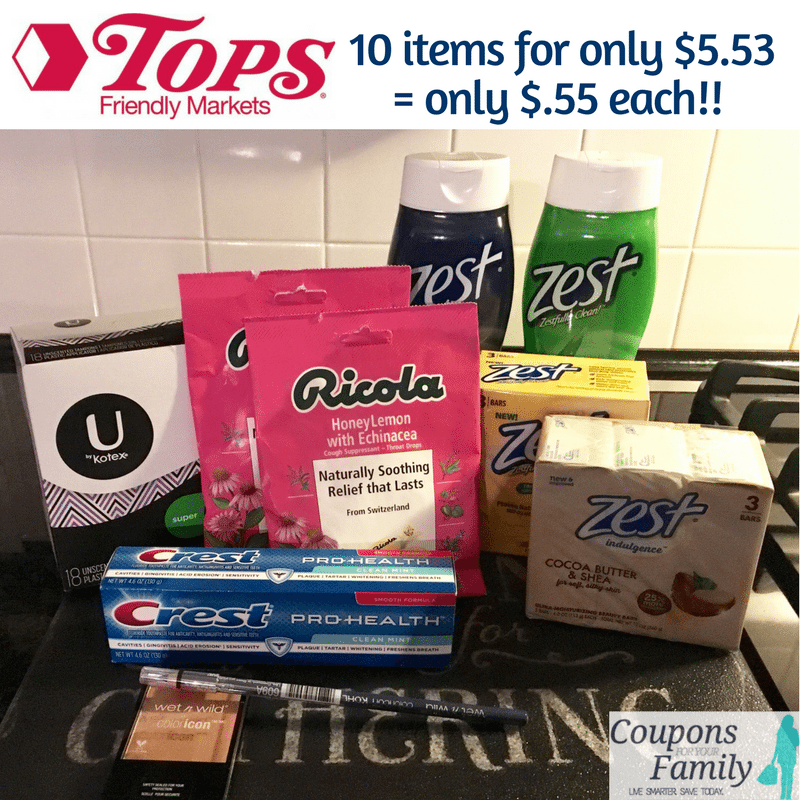 Tops Markets Health & Beauty Deal: 10 items for $5.53 = only $.55 each!!