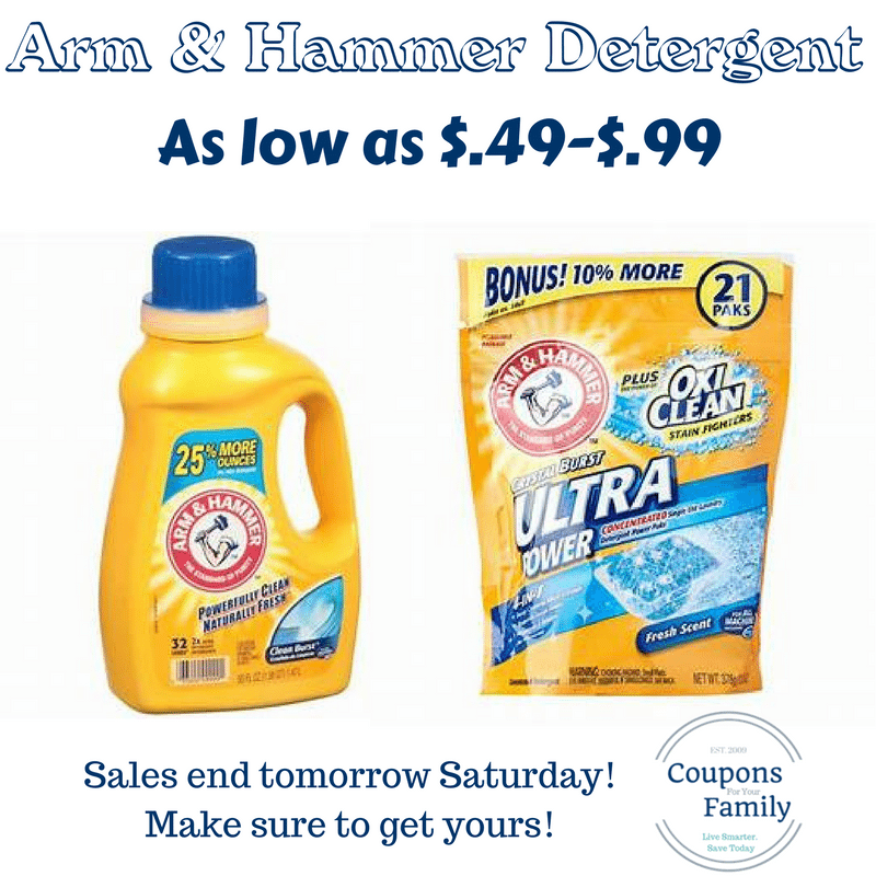 Arm & Hammer Laundry Detergent only $.99 at Walgreens, Rite Aid, CVS, and only $.49 at ShopRite- ENDS SATURDAY!!