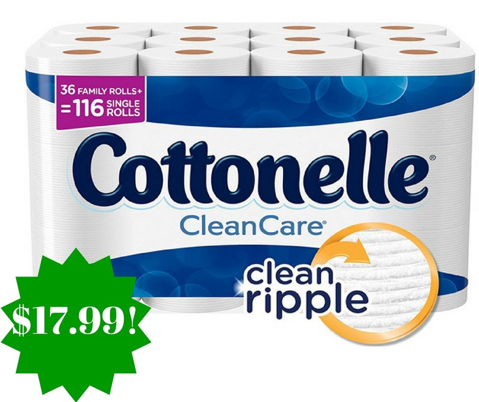 Amazon: Cottonelle CleanCare Family Roll Toilet Paper (Pack of 36 Rolls) Only $17.99
