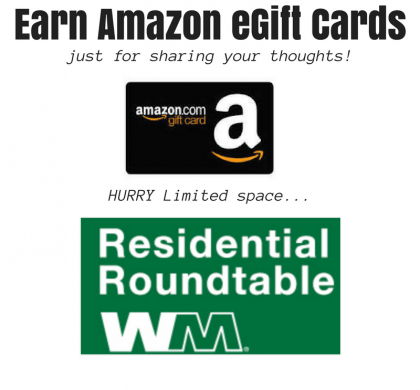 Earn Amazon eGift Cards by sharing your opinions with Waste Management- HURRY space is limited!!