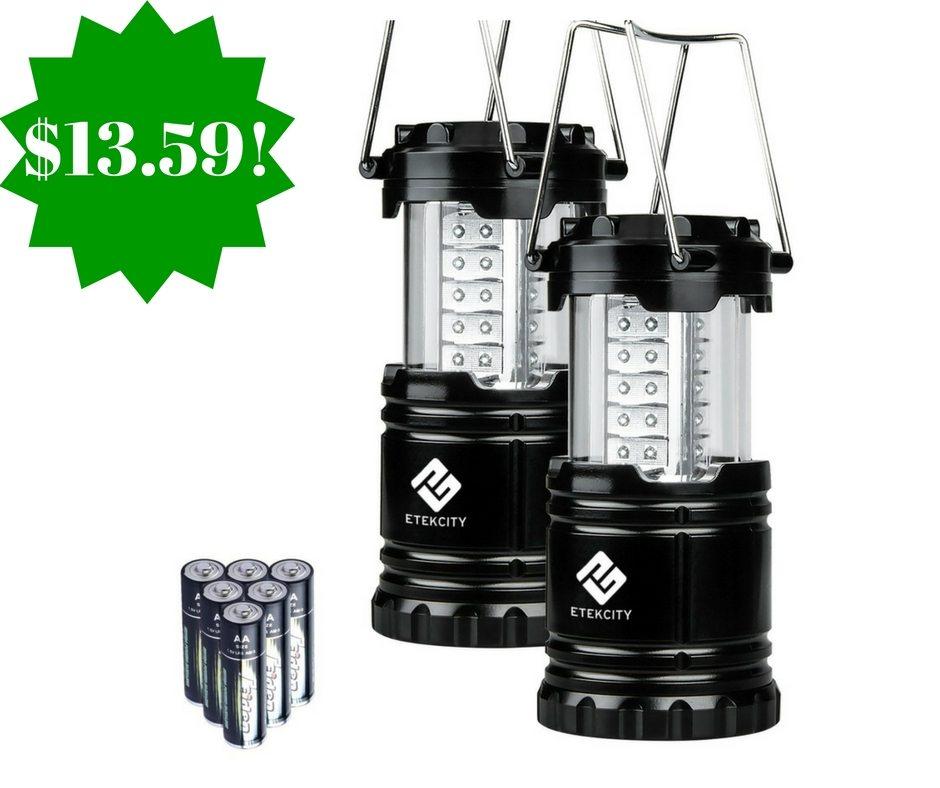 Amazon: Etekcity 2 Pack Portable LED Camping Lantern Flashlights Only $13.59 (Reg. $30)