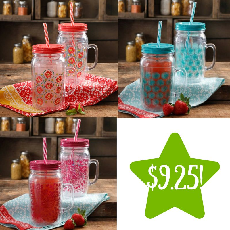 Walmart: Set of 2 The Pioneer Woman 32 Oz Mason Jar with Lid and Handle Only $9.25 (Reg. $19)