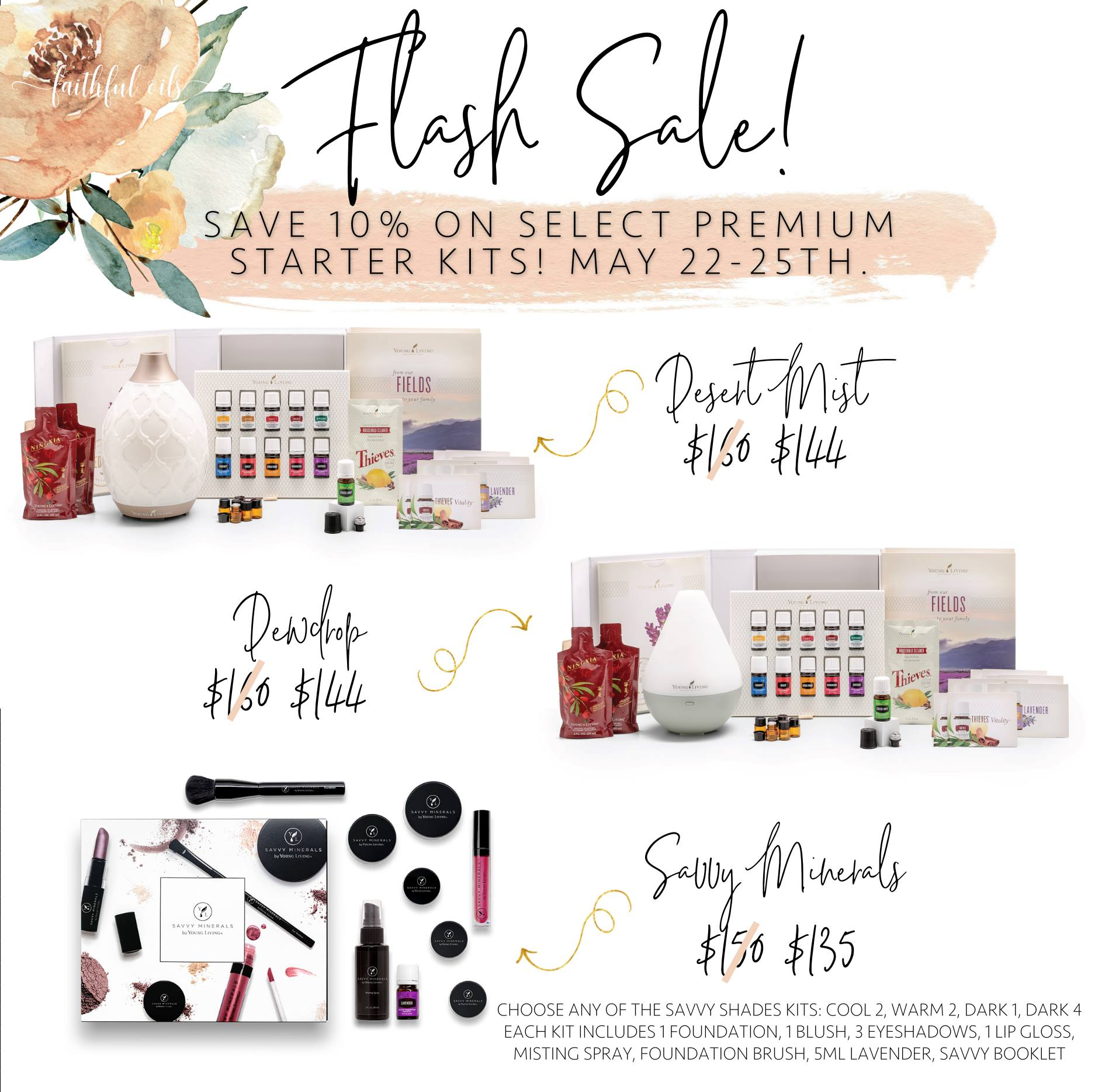 WOW! RARE SALE: Young Living Essential Oils OR Savvy Minerals Makeup Starter Kit NOW.. may sell out!!!