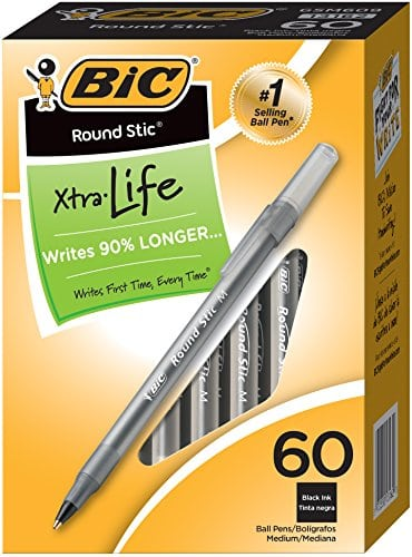 Grab 60 Count BIC Round Stic Xtra Life Ballpoint Medium Point Pens for $3! {Reg $12.85}