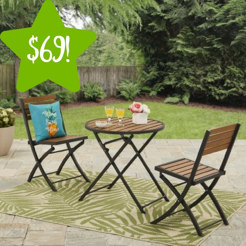 Walmart: Mainstays Calie Bay Folding Faux Wood 3PC Bistro Set Only $69 (Reg. $120)