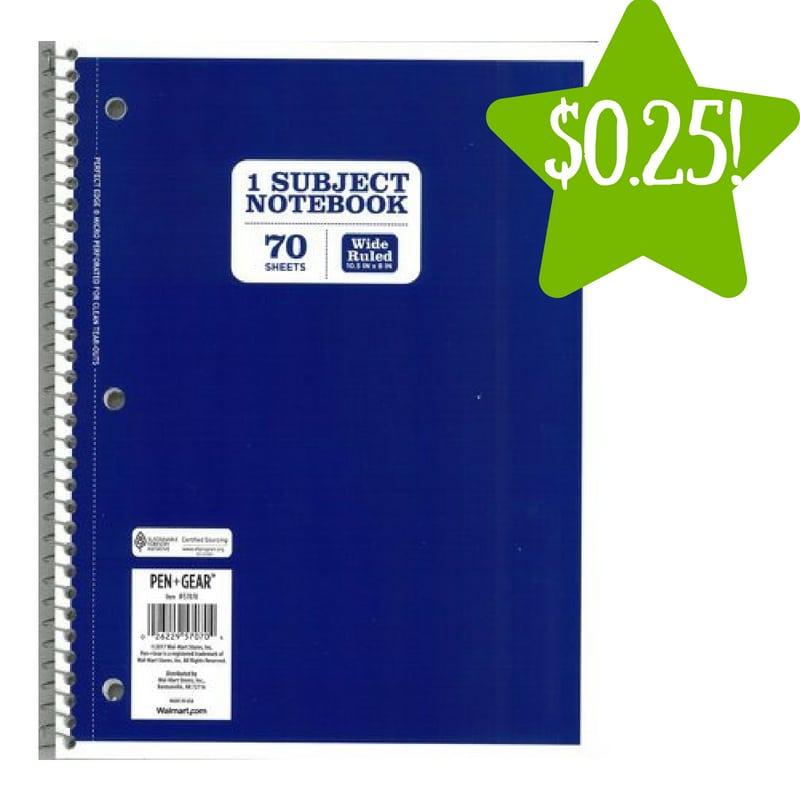 Walmart: Pen+Gear 1 Subject Wide Ruled Notebook Only $0.25